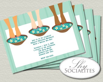 Spa Party Pedicure Trio Invitation | Spa Invitation, Pedicure, Pamper, Manicure, Spa Day | Bridal Shower, Birthday | DIY Print at Home