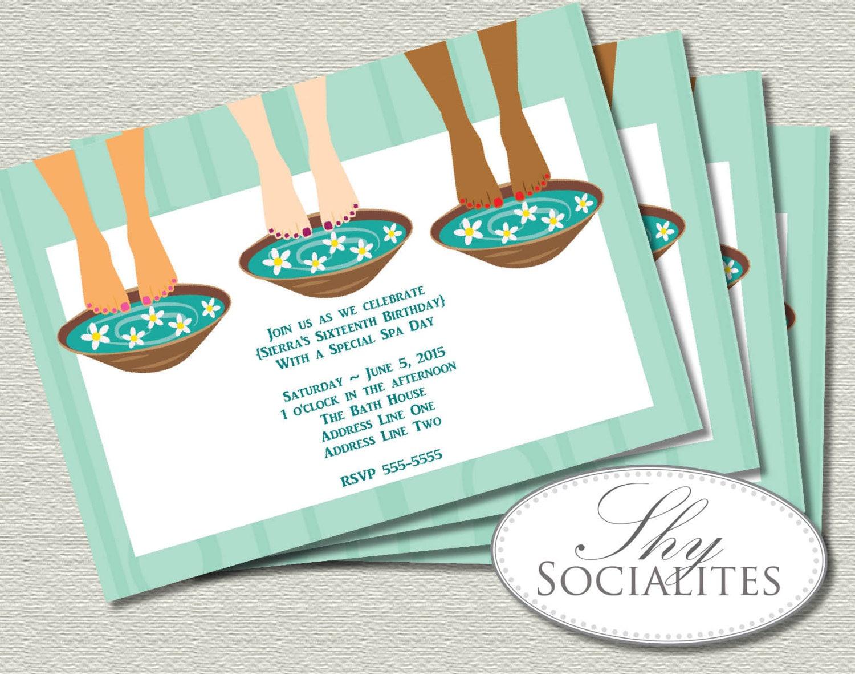 Spa Party Pedicure Trio Invitation Spa Invitation Pedicure