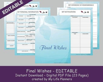 Final Wishes Planner, Funeral Planner,  Burial Arrangements, Remembrance Kit, Happy Planner Insert, Editable, Printable, PDF, Blue