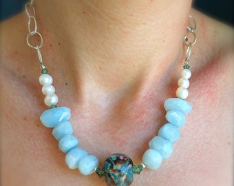 Elegant and Stunning, Natural Faceted Pale Blue Aquamarines, Handmade Lampwork Focal, Freshwater Pearls, Sterling Silver Necklace