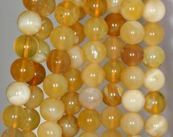 8mm Honey Yellow Opal Gemstone Yellow Round Loose Beads 15.5 inch Full Strand (90147823-142)