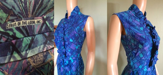 1950s 1960s FRUIT of the LOOM Blue and Purple Abstract Floral Print Ruffle Front Fitted Dress with Belt XS