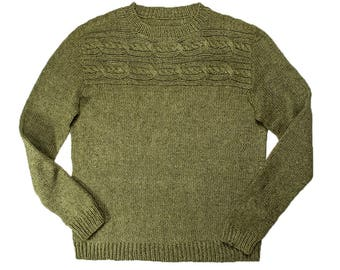 INSTANT DOWNLOAD PDF Knitting Pattern for Men's Aran Sweater Pullover Men Jumper Stockinette stitch and Cable Cayley