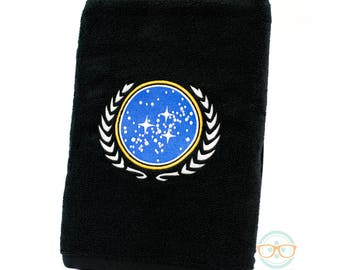 Star Trek Bath Towel - United Federation of Planets - Geeky Embroidered Bathroom Towel Decor