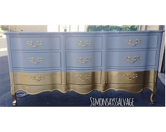Gray & Gold 9 drawer French Provincial Dresser, Nightstands, Changing Table