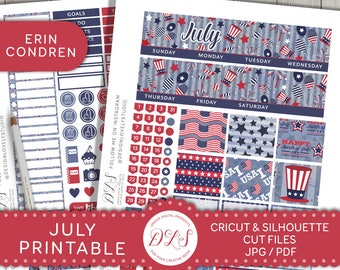 July Monthly View Kit, July Monthly Stickers, ECLP July Stickers, 4th of July Monthly Kit, fits your Erin Condren Planner, MV129