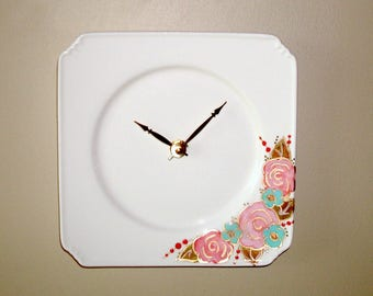 Hand Painted Floral Wall Clock in Pink and Turquoise, White Plate Clock with Hand Painted Flowers, Kitchen Clock, Unique Wall Clock - 2409