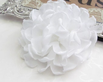 White Chiffon Fabric Flower for DIY Hair Flower / No Clips /   FLW-06