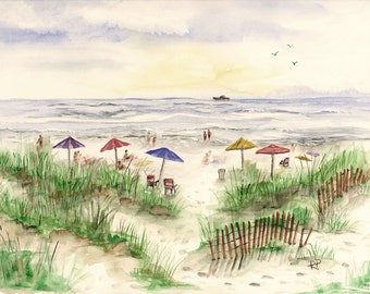 Print of Original Watercolor Painting, Summer Beach, watercolor art, watercolor print, beach painting, summer watercolor, landscape, beach