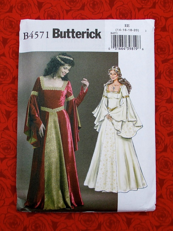 Butterick Sewing Pattern B4571 Medieval Long Gown Madrigal
