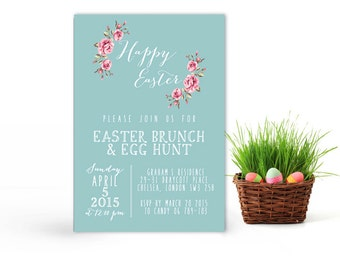 Easter printable invitation, dinner lunch Easter invitation printable, Easter brunch invitation, Easter egg hunt invitation