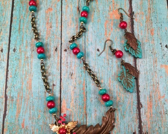 Fallen Leaf - an assemblage bib necklace with leaves and turquoise stones