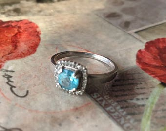 Beautiful Paraiba Color Apatite with White Sapphire in Sterling Silver Ring