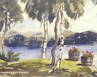 View of Long Lake, Naples, Maine - Print from Watercolor by E.S. Beal, Fine Art, Wall Art
