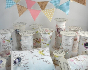 Shabby chic 5 projects pdf tutorial pattern - fabric stamped ribbon spools home decor flag banners pin keep cushion french postcard
