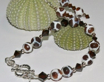 Animal Print Round Glass Brown & White Beads with Swarovski Brown Crystal Ladies Handmade Bracelet