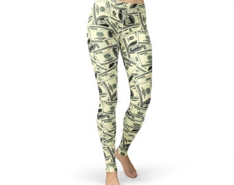 Dollar Print Cash Leggings, dollar leggings, cash leggings, dollar print, dollar pants, money print, US dollar, womens yoga pants