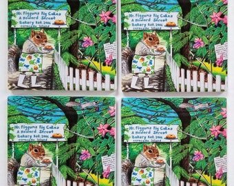 Mr Figgums Fig Cakes Sandstone Coaster set comes with gift box squirrel