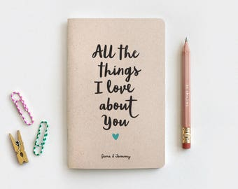 Personalized Wedding Gift Reasons I Love You Notebook & Pencil - Recycled Journal, Wedding Gift for Her, All the Things I Love About You