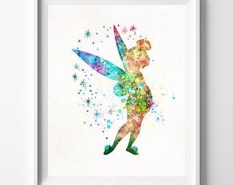 Tinker Bell Art, Peter Pan Watercolor, Tinkerbell Art, Disney Poster, Tinkerbell Print, Nursery Art, Baby Room, Type 2, Fathers Day Gift