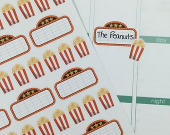 Movie Marquee and Popcorn #3 Planner Stickers! Perfect for your Erin Condren Life Planner! Set of 68 stickers!!