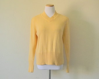 FREE  usa SHIPPING Vintage unisex knit sweater yellow heavy knit size XL kids. S-M women's S men's preppy hipster