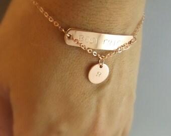 Rose gold best friend bracelet-best friend gift idea,best friend jewelry,best friend birthday gift,bff bracelet,friendship bracelet