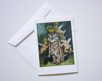 Blank Greeting Cards - Acrylic Queen Frank Mejestic Royal Cat Art by Breanna Deis