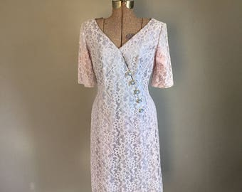 1950s Dress -- Lace V Neck with Rhinestone Buttons