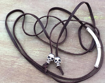 Leather Skull Lariat, Skull Leather Wrap Necklace, Brown Leather Lariat, Sugar Skull Leather Lariat, Sugar Skull Leather Necklace, Skull