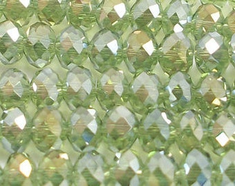 4x6mm Olive Green AB Faceted Crystal Rondelles (100) #4x6OLGNABCC