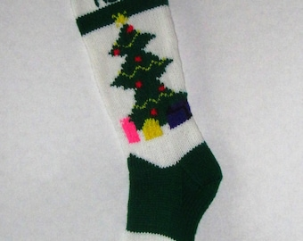 Personalized Knitted Christmas Tree Stocking (with White Background)