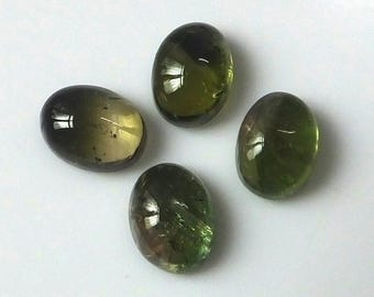 4 Pieces Lot 8X6 MM Oval Shape Natural Bi-Color Tourmaline Cabochon Cut Calibrated Untreated Gemstone Wholesale Lot Bi-Color Tourmaline
