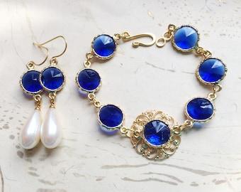 Jewel Gold Filigree Bracelet and Earring Set Blue by MinouBazaar