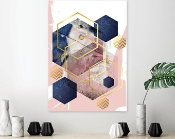 Geometric Abstract Printed Poster In Navy Blush Pink And Gold Modern  Contemporary Wall Art Large Statement