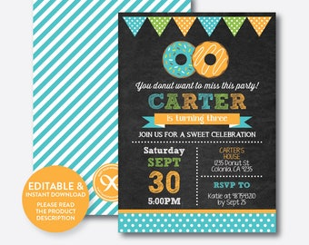 Instant Download, Editable Donut Birthday Invitation, Blue Donut Invitation, Boy Donut Invitation, Boy Birthday Invitation (CKB.11C)