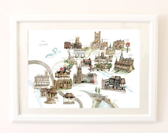 Map of the Cotswolds. Signed Limited Edition Giclee Print of an Original Illustration. In Watercolour, Graphite and Pencil Crayon.
