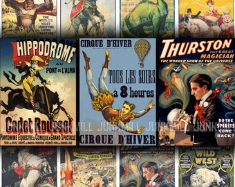 CIRQUE - Digital Printable Collage Sheet - Vintage French Circus Banners with Magicians & Wild West Sideshow Posters, Instant Download