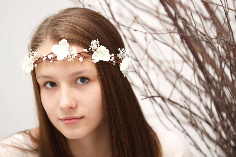 Wedding flower crown babys breath flower crown ivory flower zoom izmirmasajfo