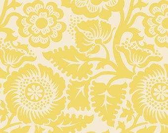 Joel Dewberry Heirloom 1YD Blockprint Blossom Dandelion Yellow floral fabric | cotton quilting fabric | discount designer fabric sale - 1YD