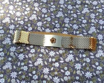 Gold Metal Belt with Floral Buckle