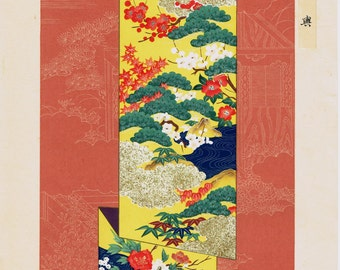 Japanese antique woodblock print, Kimono Design.