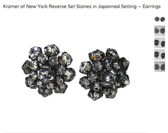 Kramer of New York Earrings, Reverse Set Clear Stones in Japanned Black Enameled Setting, Mid Century, SCARCE