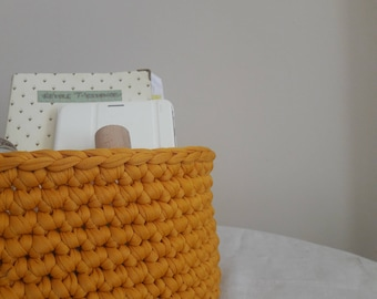 Recycled cotton - yellow basket / unique