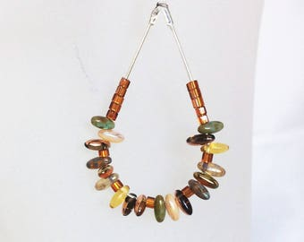 Silver ethnic metal earrings, drop pendant glass grain of rice, amber and jade beads