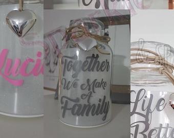 Personalised Light Up Glitter Jars