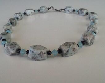 Sesame Jasper Gemstone Swarovski Crystal Necklace