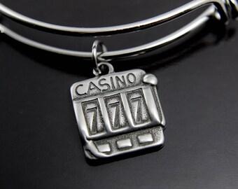 Slot Machine Charm Bangle Slot Machine Bracelet Casino Gambler Jewelry Gambling Charm Jackpot Bangle Slot Machine Charm Personalized Bangle