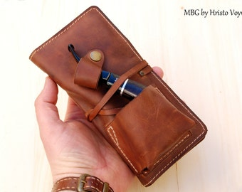 Personalized Leather Pipe & Tobacco Pouch - Leather Pipe Roll - leather Pipe Bag - Leather Pipe Case -hand made