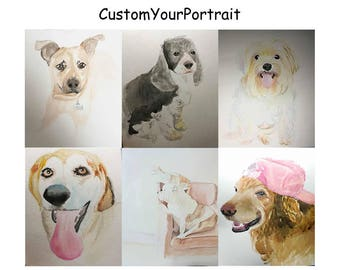 Custom pet portrait, pet portrait, custom pet watercolor, dog portrait, Custom Cat Portrait Artist, Custom Portrait Art, Original Painting